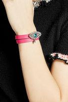 Alexander McQueen Leather Wrap Around Bracelet with Embellishment