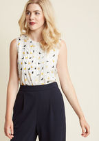 ModCloth Freelance for the Taking Sleeveless Top in Birds in L - A-line Waist