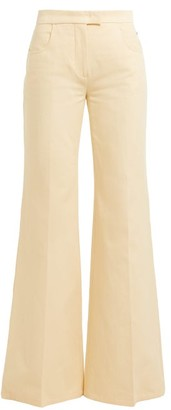 Françoise Francoise - Flared-leg Cotton Trousers - Womens - Cream