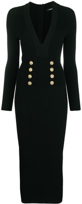 Balmain V-neck knitted midi dress
