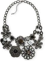 JCPenney JCP Mixit Black Crystal Flower Bib Necklace