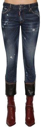 DSQUARED2 Skinny Crop Denim Jeans W/ Leather Hem