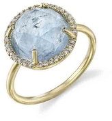 Irene Neuwirth Rose Cut Fine Aqua Ring with Diamonds - Yellow Gold