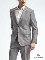 Banana Republic Standard Monogram Gray Stripe Wool Blend Suit Jacket