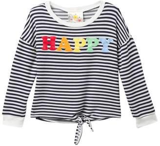 Jenna & Jessie Long Sleeve Stripe Top (Big Girls)