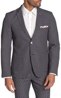 Paisley & Gray Kingsland Navy Jacquard Two Button Notch Lapel Skinny Fit Suit Separates Jacket