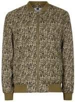 Topman Khaki Abstract Camouflage Bomber Jacket