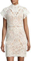 Catherine Deane Java High-Neck Lace Mini Cocktail Dress