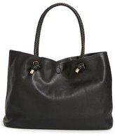 Sole Society Braided Handle Faux Leather Tote - Black