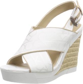 Calvin Klein Women's Elaine Logo Jacquard/Vacche Heels Sandals