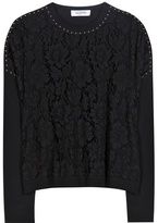 Valentino Embellished Lace And Jersey Sweater