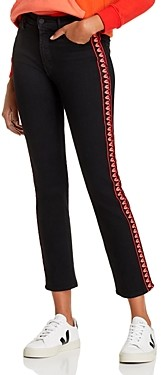 Mother The Dazzler Ankle Embroidered Trim Straight-Leg Jeans in Up In Flames