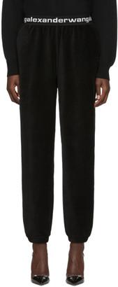 Alexander Wang Black Corduroy Stretch Logo Lounge Pants