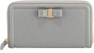 Salvatore Ferragamo Vara XS Leather Continental Wallet, Gray