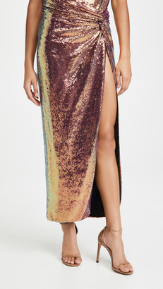 Sally LaPointe Iridescent Sequins Long Twist Sarong Wit