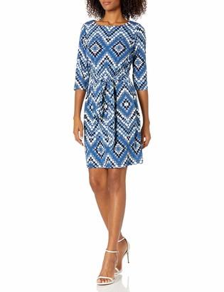 Sandra Darren Women's 1 PC 3/4 Sleeve Chevron ITY Puff Sheath Tie Dress