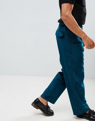 Asos Design DESIGN velvet wide leg smart trouser with side stripe-Blue