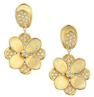 Marco Bicego Petali 18K Yellow Gold Diamond Pave Flower Drop Earrings