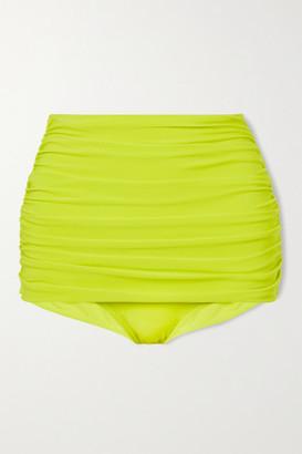 Norma Kamali Bill Ruched Bikini Bottoms - Chartreuse