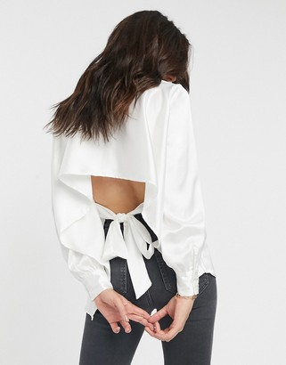 ASOS DESIGN long sleeve satin shirt with cut out back in ivory