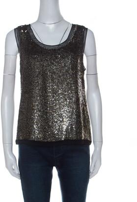 Derek Lam Metallic Sequin Embellished Silk Sleeveless Top M