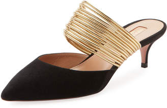 Aquazzura New Rendez Vous Strappy Kitten-Heel Mules