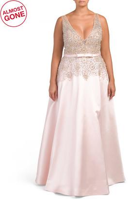 Plus V-neck Embellished Gown