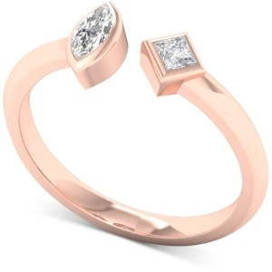 Macy's Diamond Marquise & Princess Cuff Ring (1/5 ct. t.w.) in 10k Rose Gold