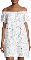 Neiman Marcus Off-the-Shoulder Linen Dress, White/Blue