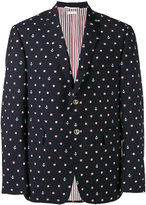 Thom Browne lifebuoy and anchor embroidered blazer - men - Cupro/Mohair/Wool - 4