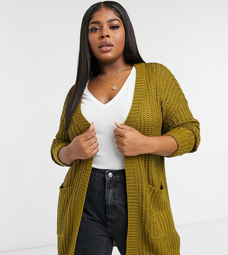 Junarose knit cardigan with pockets in green
