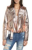 True Religion Brand Jeans Metallic Leather Moto Jacket