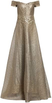 Rene Ruiz Collection Metallic Organza Embroidered Off-The-Shoulder Gown