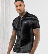 Mauvais muscle polo shirt in stripe with half zip