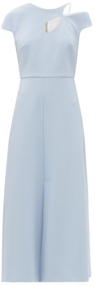 Roland Mouret Thean Asymmetric Crepe Midi Dress - Light Blue