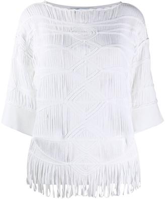Blumarine oversized woven T-shirt