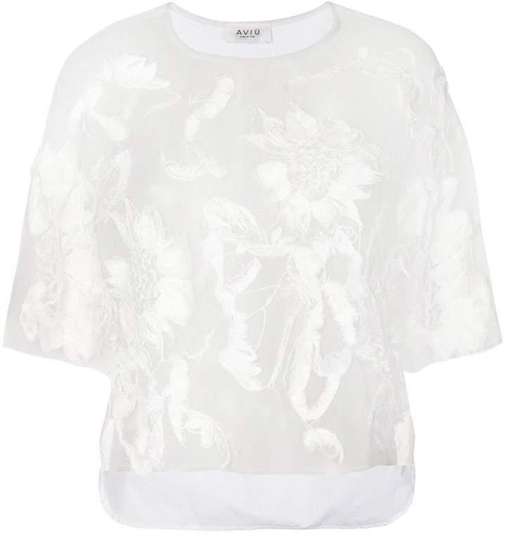 Aviu floral appliqué blouse