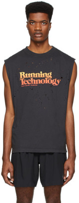 Satisfy Black Moth Eaten Running Technology Muscle T-Shirt