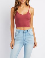 Charlotte Russe Ribbed V-Neck Cropped Cami