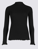 M&S Collection Pure Cotton Funnel Neck Long Sleeve T-Shirt