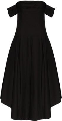 KHAITE Amanda off-the-shoulder pleated dress