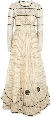 RED Valentino Cream polka-dot tulle maxi dress