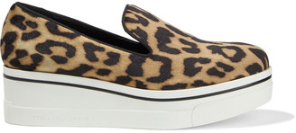 Stella McCartney Binx Leopard-print Velvet Platform Slip-on Sneakers