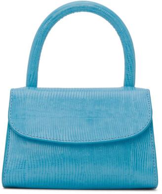 BY FAR Blue Lizard Mini Embossed Top Handle Bag