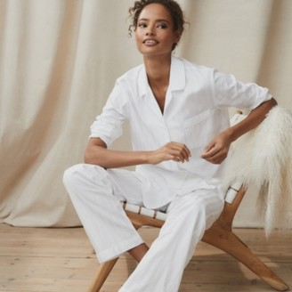 The White Company Cotton Classic Pyjama Set, White, Extra Small