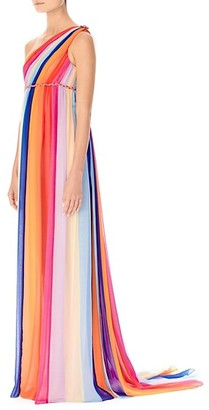 Carolina Herrera Rainbow Silk Tulle Column Gown