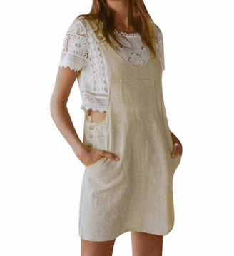 Zerototens Women Dress Zerototens Women Mini Dresses Summer Casual Sleeveless Braces Cotton Linen Dungarees Pinafore Bib Pocket Overall Dress Ladies Girls Camisole Strap Tank Dress Black