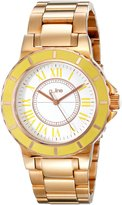 A Line a_line Women's Marina Dial Yellow Bezel Rose Gold Tone IP Stainless Steel