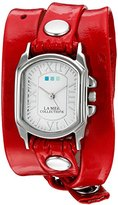 La Mer Women's Quartz Silver-Tone and Leather Automatic Watch, Color:Red (Model: LMODY201633)