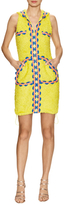 Moschino Embroidered Tweed Hooded Sheath Dress